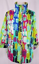 Jack B Quick Size L Geometric Zip Front Cotton Lined Jacket Bling Embellished