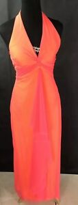Mary L Couture Coral Prom Dress Halter Top Open Back Diamond Pink Tulle Accent 4