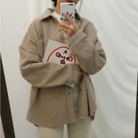 Lady Corduroy Shirt Retro Casual Button Down Blouse T-shirts Coat Soft Jackets