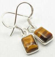 BROWN TIGER'S EYE Earrings 1.1 Inch, 925 SOLID Silver Gemstone Jewelry 1.7 Grams