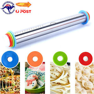 Adjustable Stainless Steel Rolling Pin+Thickness Rings for Baking Cookie Fondant