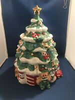 """Vintage 12"""" Painted Ceramic Christmas Tree Cookie Jar, Teddy Bear Snowman Clown"""