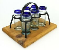 Mexican Shooter Shot Glasses Orion Hand Blown Blue Rim w/ Iron Holder (510)