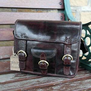 "Real Leather Handmade Brown Vintage School Satchel Cross Body Messenger Bag 9"""
