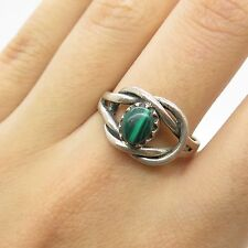 Vtg 925 Sterling Silver Real Malachite Gemstone Knot Unique  Ring Size 8 3/4