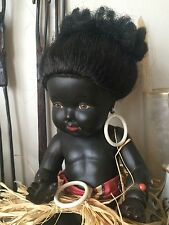 POUPEE NANOUMA CONVERT FRANCE NOIR CELLULOÏD BLACK DOLL BEAUTY OYONNAX 35cm 1950
