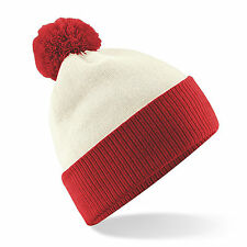 Bobble Hat Beanie Hat Two Tone Knitted Winter Warm Slouch Mens Womens Super Soft