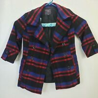 XXI Forever 21 Women's Short Trench Coat Large Ladies Plaid Wool Blend Jacket