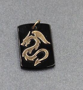 9ct Yellow Gold Dragon in Onyx Womens & Mens Pendant Fine Jewellery