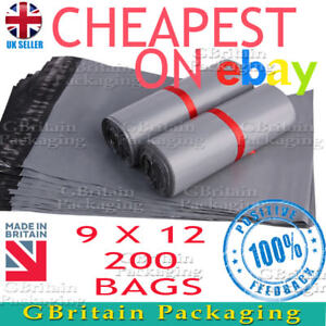 """9 x 12"""" Grey mailing bags Strong postal bags self seal x 200"""
