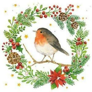 4 Individual Christmas Robin in Wreath Decoupage Napkins, Mixed Media, Crafting