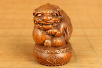 Rare chinese old boxwood dragon pixiu seal statue netsuke collect home deco