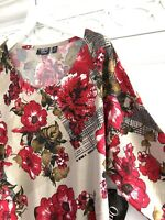 1X 2X Mod Plaid Floral Crystal Rose Cross-Panel Tunic Taupe White Red Knit Top