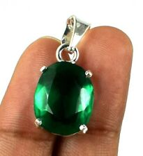 Natural Oval 10.35 Ct Muzo Emerald 925 Sterling Silver Pendant Certified G8014