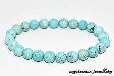 Natural Turquoise Gemstone Bracelet 8mm Healing Stone Elasticated UK Reiki