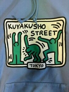 KEITH HARING x UNIQLO TOKYO MoMA SPRZ NY Hoodie US size L-XL NWT Blue Japan
