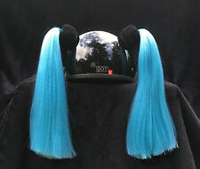 Custom Made VIOLET or TURQUOISE Helmet Pigtails ~ Motorcycle Bike ~25% More Hair