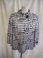 """Ladies Short Jacket Lebek UK 14, white/grey polycotton, length 24"""", lined 1279"""