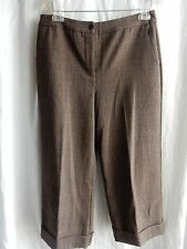 Chico's Size 1 Dress Pants Brown Tweed Crop Cuff Flat Front Excellent Condition