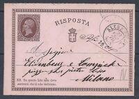 STORIA POSTALE REGNO 1876 Intero 15+R da Alessandria a Milano (E8)