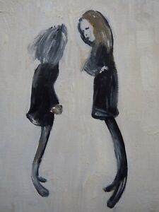 Hand painted oil painting on linen canvas after L.S Lowry painting of Teenagers