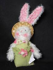 """Gersons 5"""" Chenille Bunny with Green Overalls and Straw Hat"""