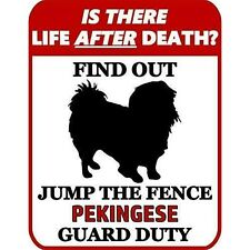 is There Death? Jump The Fence Pekingese Guard Duty Dog Sign Sp964