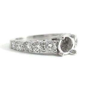 Graduated Milgrain Diamond Engagement Ring Setting Mounting Platinum 5.10 Grams