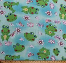 Frogs Flowers Butterflies Dragonflies Girls Blue Fleece Fabric Print BTY A327.08