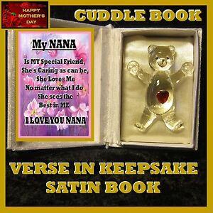 NANA VERSE GLASS TEDDY BEAR  HEART CUDDLE BOOK GIFT HAPPY MOTHERS DAY CARD