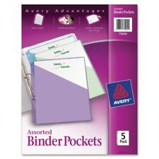 Avery Binder Pockets 3 Hole Punched 9 14 X 11 Assorted Colors 5pack
