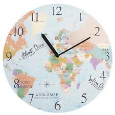 World Map Design Large Wooden Stylish Round Wall Clock Home & Kitchen 34cm