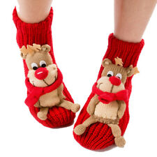 Women Girls ELK Christmas Socks Cartoon Cute Woolen Stockings