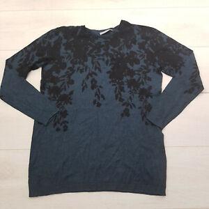 FRANSA Pullover Jumper Size L UK 14-16 Navy Floral Stretch Long Sleeve