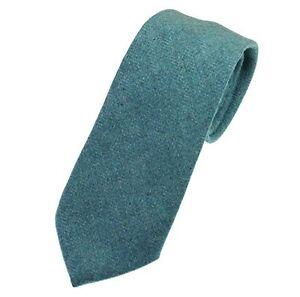 Men's Mineral Blue Herringbone Tweed Tie - Made in the UK (U121/27)