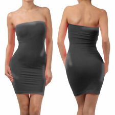 Elastic Tube Mini Dress Strapless Stretch Tight Body-con Seamless One Size FV