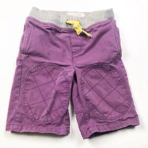 MINI BODEN Boys Shorts Purple Knee Patch Elastic Waist 5 5Y 100% Cotton