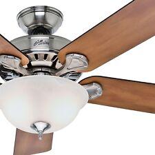 "52"" Hunter Brushed Nickel Ceiling Fan - Swirled Marble Glass Light Kit"