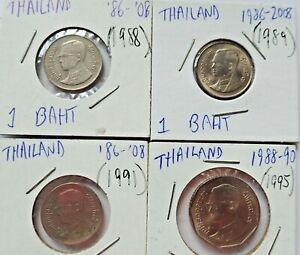 THAILAND (4) Coins - (1) 5 BAHT &  (3) 1 Baht - 1980's/1990's - 2 are GEM UNC!