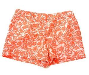 Ann Taylor Loft Neon Orange Floral Print Casual Dress Shorts Size 10 Pockets
