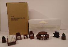 Miniature Wooden Dollhouse Outdoor Patio Grill Set 8 Piece Set