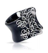New BELLE ETOILE ANASTACIA Bangle Bracelet Black Resin Sterling Silver - Size M