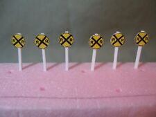 SET OF 6  N SCALE CUSTOM-MADE RAILROAD CROSSING SIGNS, NEW