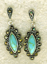 925 Sterling Silver Turquoise & Marcasite Drop / Dangle Earrings Length 1.1/8""