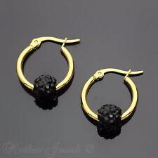 14K YELLOW GOLD IP 20MM ROUND CIRCLE HOOP HOOPS BLACK CRYSTAL BALL EARRINGS