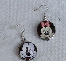 SNAP Silver Plated Mickey & Minnie Mouse Earrings Interchangeable Snap