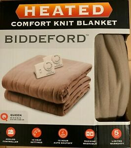 Biddeford Comfort Knit Fleece Heated Electric Blanket, Queen,  Beige - NEW