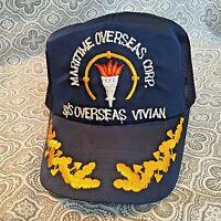 1950's Vintage S/S Overseas Vivian Maritime Corp. Navy Snapback Cap Hat #266