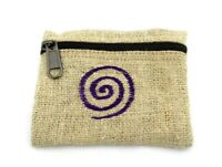 Hemp Coin Purse Purple Spiral Bag Pouch Credit Card ID Holder Vegan Wallet