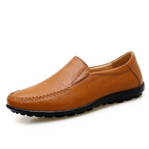 38-47 Mens Leisure Leather Shoes Slip on Loafers Driving Moccasins Pumps Casual